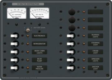 Blue Sea Systems DC 13 pozisyonlu sigorta paneli (3 pozisyon boş). 12V DC. 191x267 mm. 30 adet DC Etiket.
