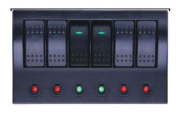 6'lı Switch Panel - C.S Otomatik Sigortalı ve Işıklı En: 100 mm Boy: 180 mm