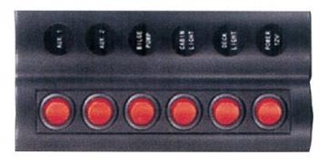 6'lı Switch Panel - A.S Otomatik Sigortalı ve Işıklı Ölçüler: 90 mm x 180 mm