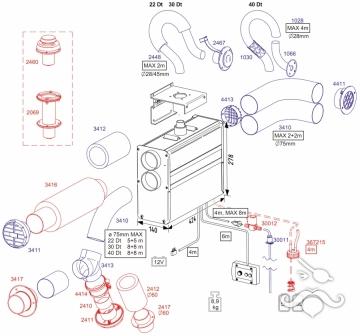 3417 Kabin geçiş adaptörü Ø75mm