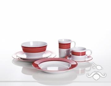 Trendline kırmızı, 20 parça melamin yemek takımı