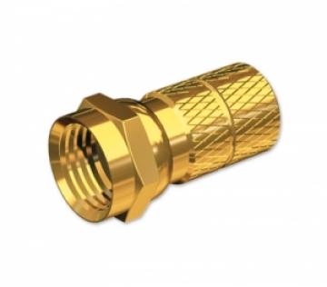 F konnektör, vidalı tip, altın kaplamalı sarı.