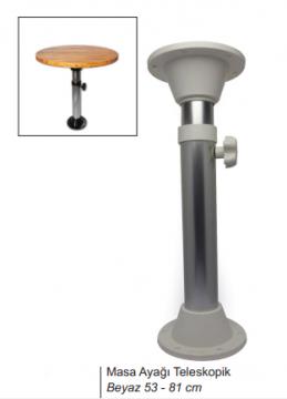 Masa Ayağı Teleskopik Beyaz 53-81cm (Alüminyum Gövde)