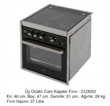 Üç Ocaklı Cam Kapaklı Fırın - CU3002